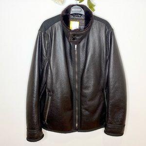 Etro Lamb Leather Bomber Jacket with Paisley Patch